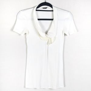 Brunello Cucinelli White Ruffle Cotton Silk Top